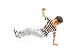 Little cool hip-hop boy in dance. On white background stock photos