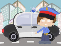 Little cop boy. Whith his car Stock Images
