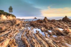 Little Corona Beach in Corona Del Mar. California at sunset in summer Stock Images