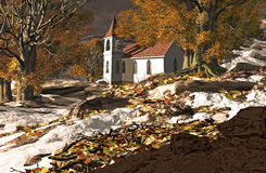 Little Country Church. A little country church in the fall season Stock Images