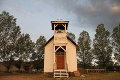 Little country church along the highway Stock Photo