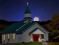 Little country Church at Night Royalty Free Stock Photography