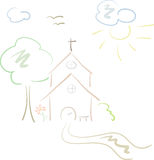 Little country church in pastels. Pastel-colored, hand-drawn illustration of a little country church, isolated Royalty Free Stock Images