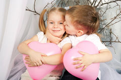 Little couple of kids hugging. Love concept. Stock Image