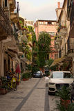 Little courtyard near the residential house in the Taormina. Royalty Free Stock Images