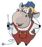 A little cow electrician. Cartoon Royalty Free Stock Images