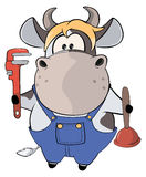 A little cow plumber. Cartoon Stock Image
