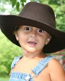 Little Cowboy. My three year old son wearing his big brothers cowboy hat Royalty Free Stock Photography