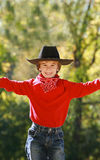 Little Cowboy. Dressed in Red with a Big Smile stock images