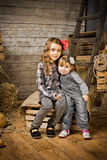 2 Little cowboy girls - sisters Royalty Free Stock Image