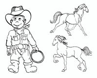 Little cowboy and horses. Illustration of little cowboy and two horses in outline style for coloring book Stock Photography