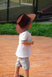 Little Cowboy Portrait, Asian Kid. Asian little young boy standing on street with cowboy hat Stock Photo