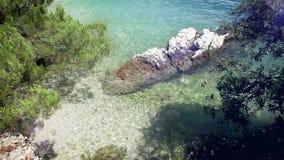 Little cozy Bay on Croatia Adriatic sea shore stock video