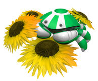 Little Crab Robot with Sunflowers. The sunflowers are notable in that they have an accurate seed arrangement, 3d generated, according to Fibonacci sequence Royalty Free Stock Photo
