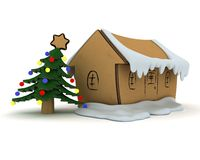 Little craft Christmas house Stock Image