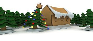 Little craft Christmas house Royalty Free Stock Photos