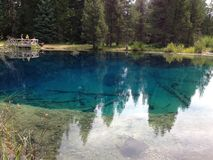 Little Crater Lake. Reflections on the cold clear water of Little Crater Stock Image
