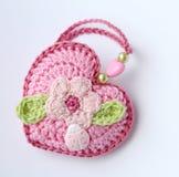 Little crochet heart. Lovely gift. Royalty Free Stock Photos