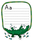 Little crocodile or alligator, for ABC. Alphabet A. Children vector illustration of little funny crocodile or alligator swims in the lake. Alphabet A. Including Royalty Free Stock Image