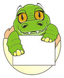 Little crocodile with clean banner Royalty Free Stock Image