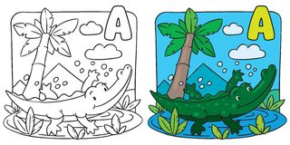 Little crocodile coloring book. Alphabet A Royalty Free Stock Photo