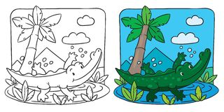 Little crocodile coloring book Royalty Free Stock Photography