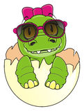 Little crocodile girl in sunglasses with bow Stock Images