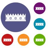Little crown icons set. In flat circle red, blue and green color for web Stock Images