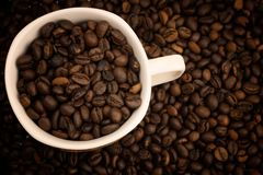 Little cup for expreso full coffe beans royalty free stock photos