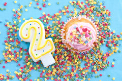 Little cupcake with pink frosting Royalty Free Stock Photos