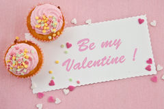 Little cupcakes on pink Stock Photography