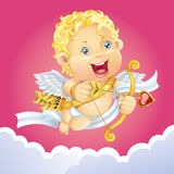 Little cupid aiming arrow. Royalty Free Stock Photography