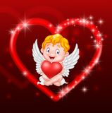 Little cupid holding heart Stock Image