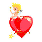 Little cupid sitting on heart shaped bomb with sand watch. Stock Photo