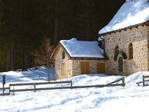 Little curch in the snow Stock Photography