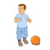 Little curly boy play with  ball. Isolated little boy play with orange  ball Stock Photos