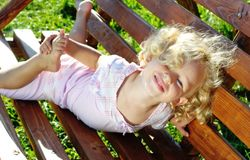 Little curly girl Stock Image