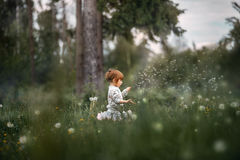 Little curly girl blowing dandelion Royalty Free Stock Image
