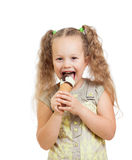Little curly girl eating ice cream isolated Royalty Free Stock Photo