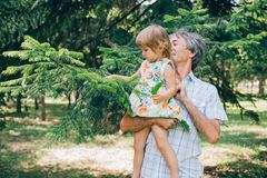 A little curly girl and her father are a close family. Stock Photography