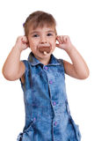 Little curly girl with ice cream Stock Images