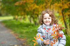 Little curly girl playing with golden leaves in autumn park Stock Photos