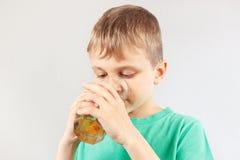 Little cut boy drinking fresh lemonade Royalty Free Stock Photos