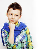 Little cute adorable boy posing gesturing cheerful on white background, lifestyle people concept Royalty Free Stock Photo