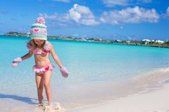 Little cute adorable girl on tropical beach Royalty Free Stock Photography