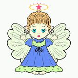 Little cute angel with a halo stock illustration