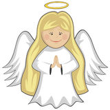 Little Cute Angels. A cute little blonde angel is praying and smiling (outlined Stock Image