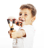 Little cute angry real boy with slingshot isolated Stock Photography