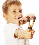 Little cute angry real boy with slingshot  Stock Photos