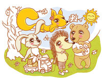 Little cute animals children illustration. Children illustration of four little cute animals characters: squirrel, hedgehog, rabbit and a bear vector illustration